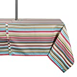 """DII Spring & Summer Outdoor Tablecloth, Spill Proof and Waterproof with Zipper and Umbrella Hole, Host Backyard Parties, BBQs, & Family Gatherings - (60x84"""" - Seats 6 to 8) Warm Summer Stripe"""