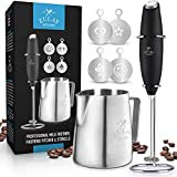 Zulay High Powered Milk Frother COMPLETE SET - Handheld Foam Maker for Lattes - Great Electric Whisk Drink Mixer for Bulletproof Coffee, Mini Blender and Foamer Perfect for Cappuccino, Frappe, Matcha, Hot Chocolate by Milk Boss - Includes Frother, Coffee Decorating Stencils and Frothing Cup.