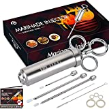 OFG 304-Stainless Steel Meat Injector Syringe with 3 Marinade Needles for BBQ Grill Smoker, 2-oz Large Capacity, Recipe E-Book (Download PDF)