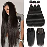 CYNOSURE Brazilian Virgin Hair Straight 3 Bundles with Closure 4x4 Middle Part Human Hair Bundles with Closure Natural Black(14 16 18+12 inch closure)