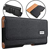 Bomea iPhone XS Max Holster, iPhone 8 Plus 7 Plus Belt Clip Case, Premium Leather Holster Pouch Case with Belt Clip Phone Holder for Apple iPhone XS Max/6s Plus/7 Plus/8 Plus (Fit w/Phone Case on)