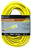 Southwire 02589SW Outdoor Extension Cord- 12/3 American Made SJTW Heavy Duty 3 Prong Extension Cord, Water Resistant Vinyl Jacket, Great for Commercial Use and Major Appliances, 100 Foot, Yellow
