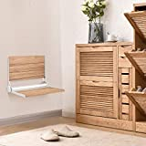 Giantex 18' Folding Shower Bench Seat Folding Shower Seat Teak Wood and Aluminum Modern Wall-Mounted Fold Up Bathroom Stool Foldaway Shower Seating Chair