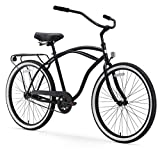 sixthreezero Around The Block Men's Single Speed Cruiser Bicycle, Matte Black w/ Black Seat/Grips, 26' Wheels/19' Frame