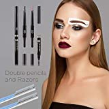 Eyebrow Stencil Shaper Eyebrow Makeup Set With Eyebrow Pencils & 32 Pairs Mixed Eyebrow Stencils – 3-In-1 Pencil 3D Auto Eyebrow Pencils & Brush &Powder - 2 Pairs Of Razors For Grooming&Styling