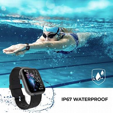 Smart-WatchFitness-Tracker-with-Heart-Rate-MonitorIP67-Waterproof-Fitness-Watch-with-PedometerSmartwatch-Compatible-with-iOS-Android-for-Men-WomenBlack