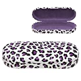 OptiPlix Hard Clamshell Eyeglass Case, Leopard Print Protective Glasses and Sunglasses Holder - for Kids & Adults, Men & Women - Purple