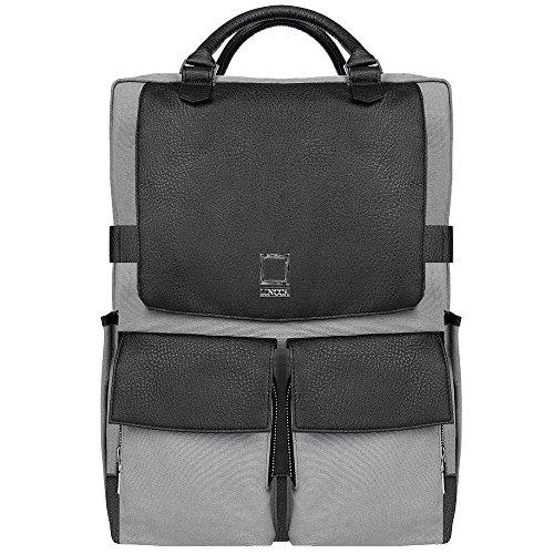 Unisex Water Resistant Canvas College School Laptop Backpack for HP EliteBook, Envy, Mobile Thin Client, ProBook, Spectre x360, Zbook Series 14 inch 15.6 inch Laptop, Black, Grey
