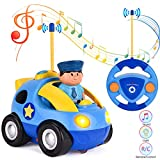 Eholder RC Police Car, Mini Radio Controlled Cartoon Car for Toddlers, Kids, Boys, Girls Electric RC Vehicles Toy with Driver Removable Blue Race Cars with Music LED Lights Remote Control Car