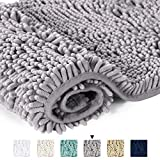 Microfiber Bath Rugs Chenille Floor Mat Ultra Soft Washable Bathroom Dry Fast Water Absorbent Bedroom Area Rugs Gray, 20 inches by 32 inches