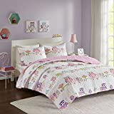 Comfort Spaces Howdy Hoots 2 Piece Quilt Coverlet Bedspread Owl Print Ultra Soft Hypoallergenic Kids Teens Girls Bedding Set, Twin, Pink/White