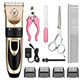 JANBOTEK 2019 Chip Upgraded Professional Cordless Dog Cat Pet Clippers Hair Shaver Rechargeable Low Noise Grooming Kit Dog Trimmer for Thick Coats