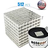 actoper Magnetic Cube 3mm 512pcs Magnets Blocks Multi-Use Square Cube Magnets Toy Stress Relief Toys for Kids (Silver)