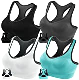 FITTIN Racerback Sports Bras Pack Of 4 - Padded Seamless High Impact Support For Yoga Gym Workout Fitness With Removable Pads, L(Fit for 34D 36C 36D 38A 38B 40A), 4-pack
