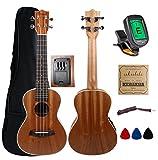 Kulana Deluxe Concert Acoustic Electric Ukulele, Mahogany Wood with Binding and Aquila Strings + Gig Bag