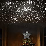 EAMBRITE 9' Hollow Silver Star Christmas Tree Topper with Rotating Magic Cool White Snowflake Projector for Xmas Tree Decoration