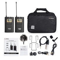 COMICA-CVM-WM100-Wireless-Lavalier-Microphone-UHF-48-Channel-Omnidirectional-Lapel-Mic-System-100m-Long-Range-Transmission-Plug-and-Play-for-Canon-Nikon-Panasonic-DSLR-Camcorder-Smartphone