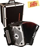 Hohner Panther Diatonic Accordion - Keys F/Bb/Eb Bundle with Hard Case and Austin Bazaar Polishing Cloth