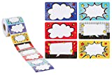 Name Stickers - 600-Count Superhero Name Tag Stickers, Assorted Comic Style Name Label Sticker, Ideal for Students, Classroom, Party, Visitor Passes, 6 Speech Bubble Designs, 3.5 x 2 Inches