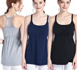 SUIEK Nursing Top Tank Cami Maternity Shirt Sleep Bra For Breastfeeding 3PCS/Pack (X-Large, Black + Navy + Grey (3/Pack))