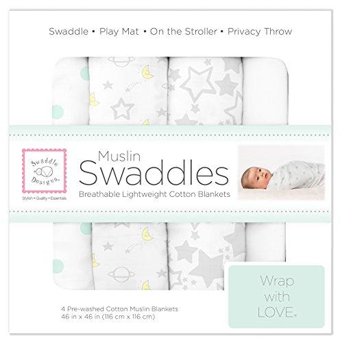 SwaddleDesigns Cotton Muslin Swaddle Blankets, Set of 4, Goodnight Starshine (Parents' Picks Award Winner)