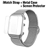 Compatible with Apple Watch 38mm 40mm 42mm 44mm Band Milanese Loop, Stainless Steel Magnetic iWatch Strap + Metal Case + Screen Protector for Apple Watch Watch Series 4/3/2/1 (Silver, 44mm)