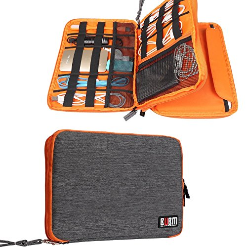 Travel Organizer, BUBM Universal Double Layer Travel Gear Organizer Storage Bag/Electronics Accessories Organizer/USB Cable Organizer Bag - Grey and Orange