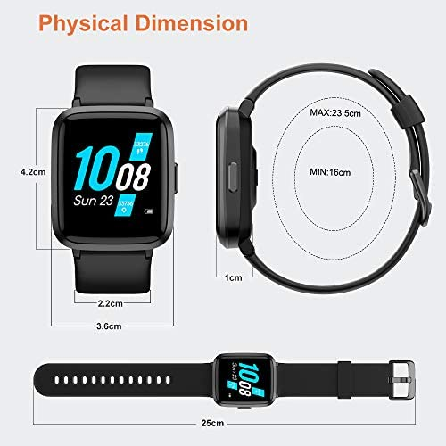 YAMAY Smart Watch 2020 Ver. Watches for Men Women Fitness Tracker Blood Pressure Monitor Blood Oxygen Meter Heart Rate Monitor IP68 Waterproof, Smartwatch Compatible with iPhone Samsung Android Phones 10