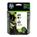 HP 60 Black & Tri-Color Ink Cartridges, 2 Cartridges (CC640WN, CC643WN) for HP Deskjet D2530 D2545 F2430 F4224 F4440 F4480 HP ENVY 100 110 111 114 120 HP Photosmart C4640 C4650 C4680 C4780 C4795 D110