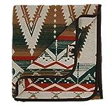 Ruth&Boaz Outdoor Wool Blend Blanket Ethnic Inka Pattern(Q) (Green, Large)