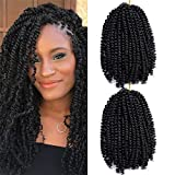 2 Pcs/Pack 8 Inch Spring Twist Crochet Hair Kinky Synthetic Braiding Hair Extensions #1