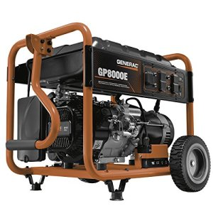Generac 6954 GP8000E 8,000 Running Watts/10,000 Starting Watts Electric Start Gas Powered Portable Generator – CSA Compliant