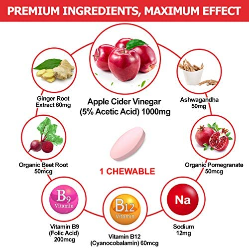 (2 Pack)Organic Apple Cider Vinegar Pills with The Mother for Weight Loss, Detox & Cleanse, ACV Pills for Women, Vegan Apple Cider Vinegar Tablets 1000mg Alternative to ACV Gummies, Capsules-120 Tabs 2