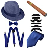 1920s Mens Accessories Hard Felt Panama Hat, Y-Back Suspenders & Pre Tied Bow Tie, Tie,Toy Cigar & Fake Mustache (OneSize, 1Blue)