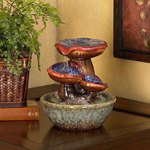 John Timberland Toadstool 9 1/4' High Three Tier Tabletop Fountain