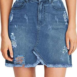 luvamia Women's Casual Mid Waisted Washed Frayed Pockets Denim Jean Short Skirt 27 Fashion Online Shop gifts for her gifts for him womens full figure