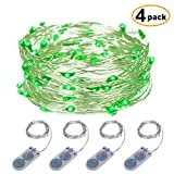 ITART Micro LED String Lights Battery Powered Set of 4 Green Mini String Light 20 LEDs / 6ft (2m) Ultra Thin Silver Wire Rope Lights for Christmas Trees Wedding Parties Bedroom