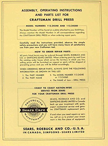 CRAFTSMAN 113.24540 & 113.24560 Drill Press Instruction & Parts Manual