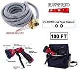 eXperto (100ft, Silver) Expandable Garden Hose 3 in 1 KIT - Expanding Hose + Heavy Duty 8 Pattern Metal Watering Nozzle Spray Front Trigger + Hose Storage Bag