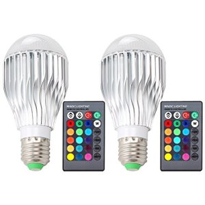 DLPIN 2 Pack 10W RGBW Color Changing Light Bulbs LED Dimmable Lamp with Remote Control E26