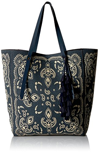 51F79HTRrJL Paisley-print tote bag in structured canvas with faux-suede handles and tassel accent Includes additional bag