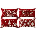 NIDITW Set of 4 Happy Holiday Baby Its Cold Outside Believe Snowflakes Cotton Linen Throw Pillowcase Cushion Cover Sofa Chair Decorative Rectangle 12x20 Inches