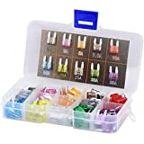 GBAuto 130pcs Assorted Mini Auto Car Truck Blade Fuses Set- 2A 3A 5A 7.5A 10A 15A 20A 25A 30A 35A - APM, ATM Mini Automotive Replacement Fuse Assortment Kit w/A Puller for Boat,RV,SUV