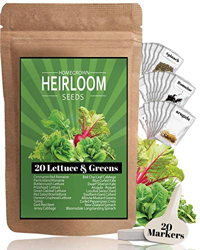 Lettuce & Leafy Vegetables Heirloom Seeds [20 Varieties - 3000 Seed] Kale, Spinach, Arugula, Cabbage, Romaine, Iceberg, Bibb | Hydroponic Vegetable Garden Seeds | Non Gmo Microgreen Seeds For Planting