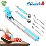 Watermelon Windmill Slicer Cutter 304 Stainless Steel-Melon Cubes Cutter, 7 in 1 Watermelon Salad Cut Tools Pack, Easy Grip Kitchen Gadgets Set, Fruit Corer (BLUE)