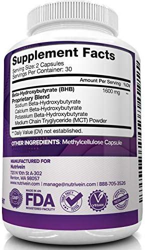 Nutrivein Keto Diet Pills 1600mg - Advanced Ketogenic Diet Supplement - BHB Salts Exogenous Ketones Capsules - Effective Ketosis Best Keto Diet, Mental Focus and Energy, 60 Capsules 7