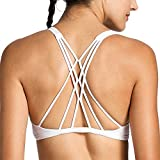 CRZ YOGA Women's Removable Pads Yoga Top Cross Strappy Back Sports Bra White M Fit 32DD 34D 36A 36B 36C