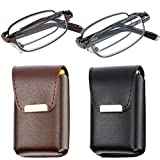 Reading Glasses Set of 2 Fashion Folding Readers with Leather Cases Brown and Gunmetal Glasses for Reading for Men and Women +1.5