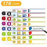Daycare Labels for Baby Bottle, Cups, School Supplies Waterproof Self-Laminating Write-On Kids Name Labels-Pack of 176 (BPA-Free)