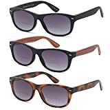 GAMMA RAY SUNREADERS Combo Pack of Vintage Style Bifocal Gradient Sunglasses Readers with UV400 Protection Outdoor Reading Glasses for Men and Women,Magnification strength 2.25